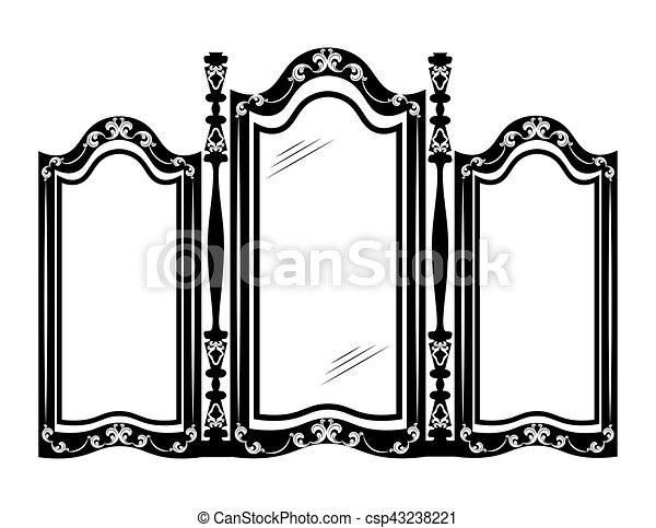 Vendimia, marco, espejo. Estilo, frame., furniture.,... Ilustración ...