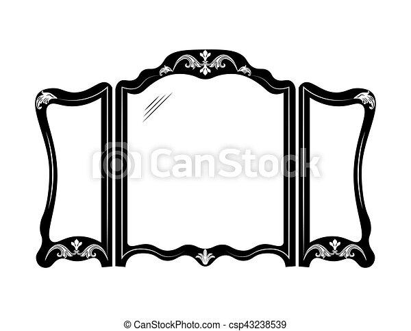 Vendimia, marco, espejo. Estilo, frame., furniture.,... vectores ...