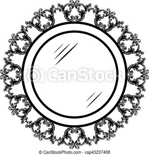 Vendimia, marco, redondo, adornado. Frame., vendimia, marco, vector ...