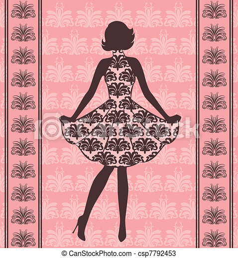 Vintage silhouette of girl. - csp7792453