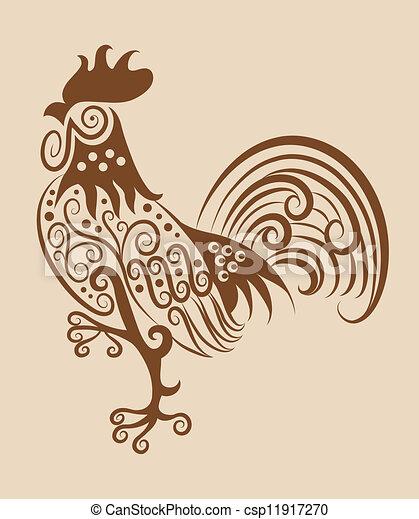 vendimia, ornamento, gallo - csp11917270