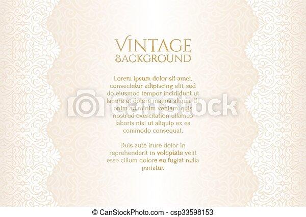 Champaña de lujo de fondo vintage con adorno floral - csp33598153