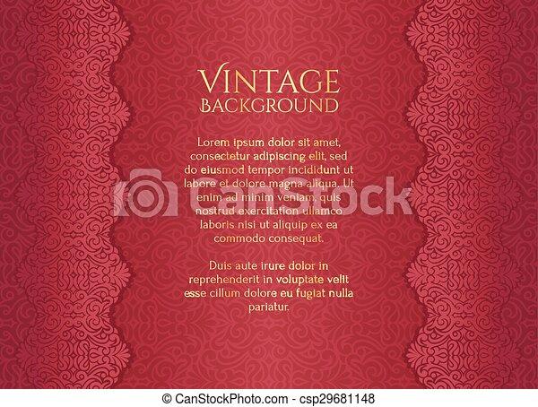 Antecedentes antiguos de lujo rojo con adorno floral - csp29681148