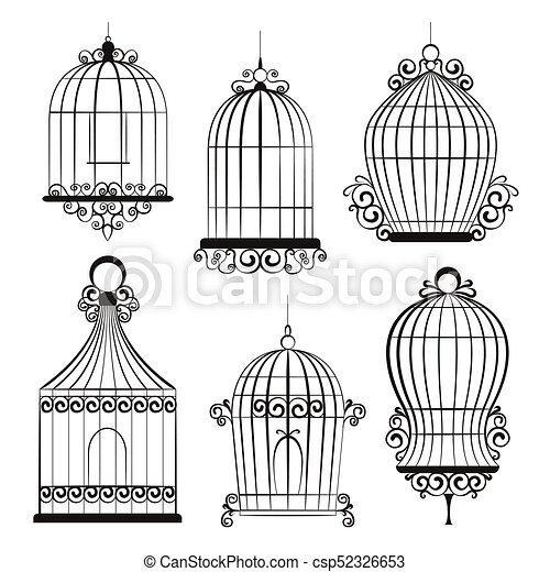 87a317acc6 Vendimia, pájaro, jaulas. Clipart, vendimia, aislado, vector, white ...