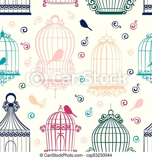 edd3f5fff7 Vendimia, pájaro, jaulas, patrón. Clipart, vendimia, pattern ...