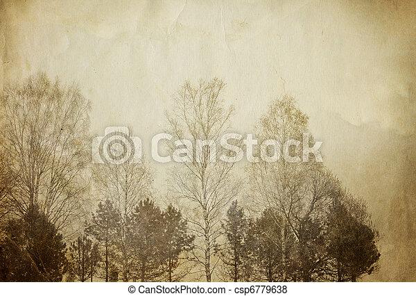 vendimia, papel, sheet., árboles - csp6779638