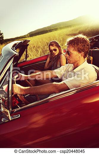 vendimia, pareja, coche - csp20448045