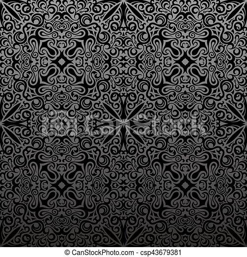 Vendimia Pattern Seamless Fondo Negro Floral Islam