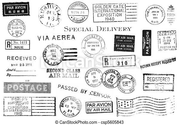 vendimia, postal, conjunto, marcas - csp5605843