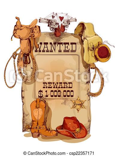 vendimia, querido, occidental, cartel - csp22357171