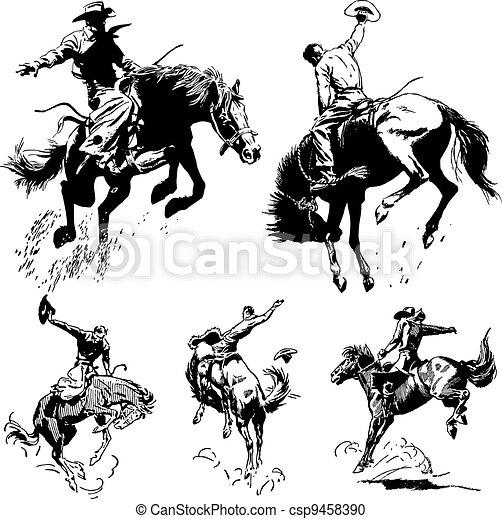 vendimia, rodeo, vector, gráficos - csp9458390