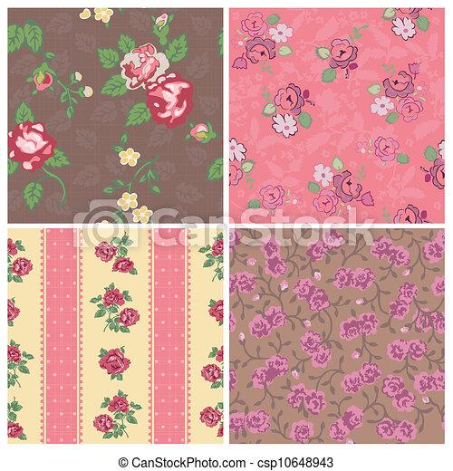 vendimia, -, seamless, colección, vector, diseño, plano de fondo, álbum de recortes, flores - csp10648943