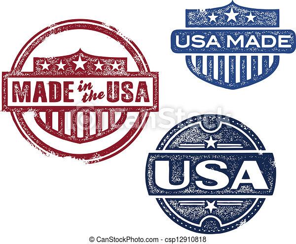 Viaje hecho en sellos de EE.UU - csp12910818
