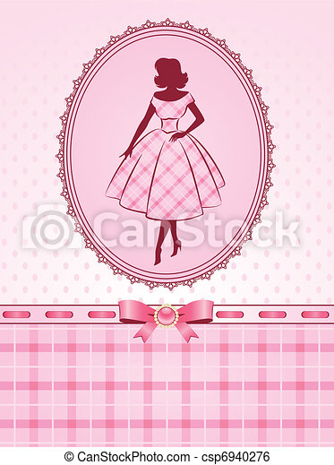 Vintage silhouette of girl. - csp6940276
