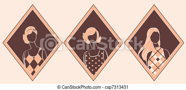 Vintage silhouette of girl. - csp7313431