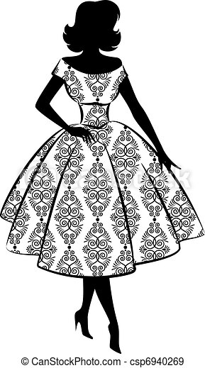 Vintage silhouette of girl. - csp6940269