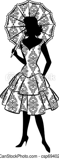 Vintage silhouette of girl. - csp6940297