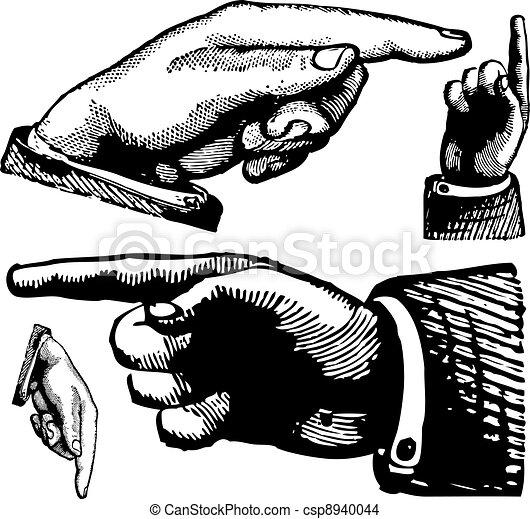 vendimia, vector, dedos, señalar - csp8940044
