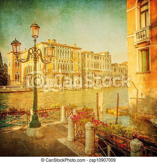 Una imagen antigua del gran canal, Venice - csp10907009