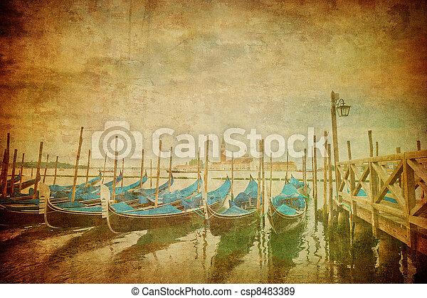 Una imagen antigua del gran canal, Venice - csp8483389