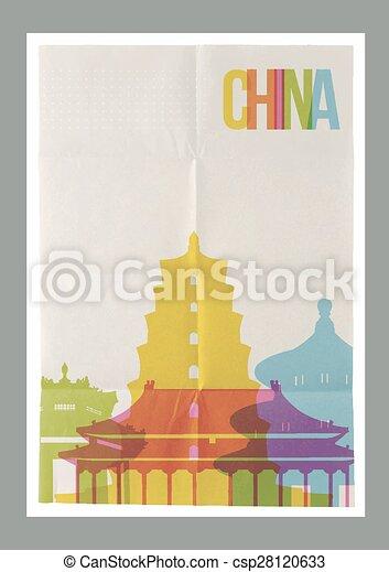 Los monumentos de Travel China paralizan el póster vintage - csp28120633