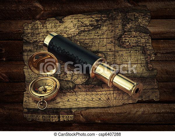 vendimia, viaje, objetos - csp6407288