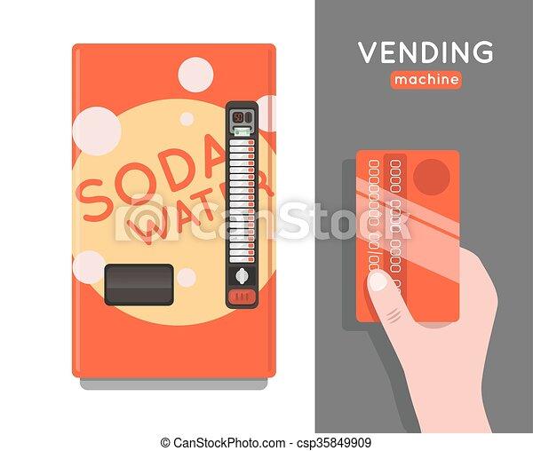 Vending machine  set. Sell snacks and soda drinks vending machines. Vending machine credit card pay. Vending machine merchandising. - csp35849909