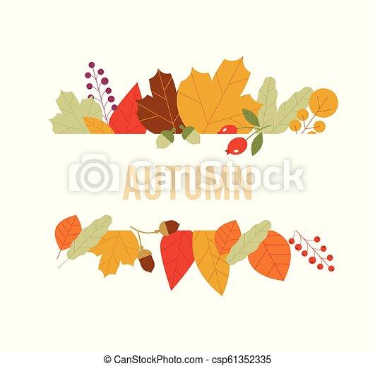 vendita, acero, fondo., autunno, disegno, composition., foglia, vector., bandiera, modello, fogliame - csp61352335