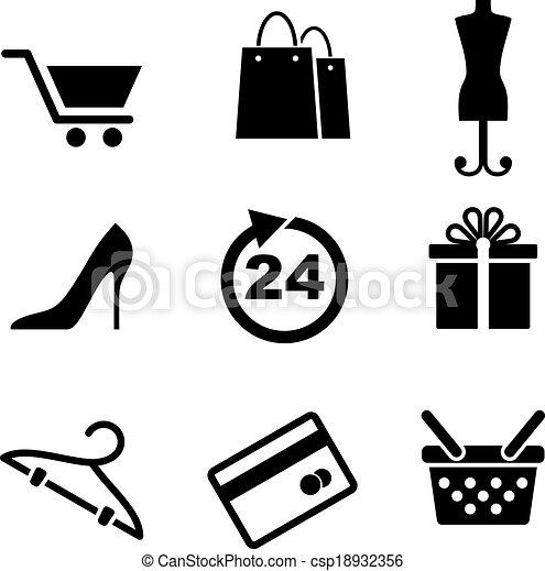 vendita dettaglio fa spese, icone - csp18932356