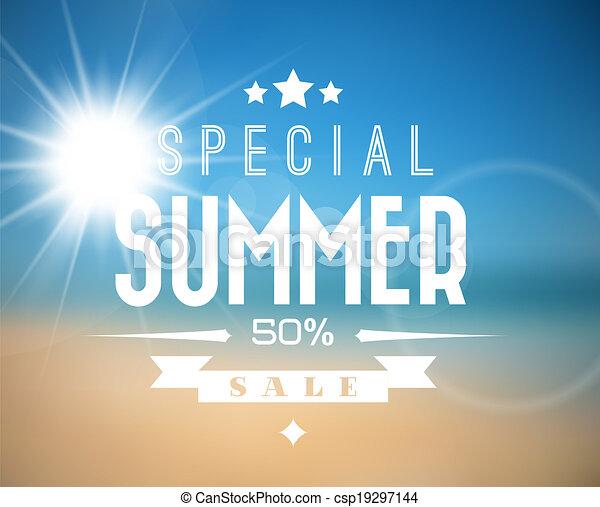 vendita, vettore, estate, manifesto - csp19297144