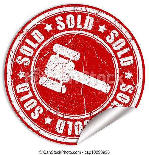 vendu, autocollant - csp10233936