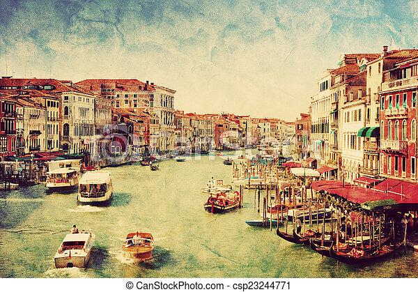 Venecia, Italia. Barcos en el gran canal. Arte antiguo - csp23244771