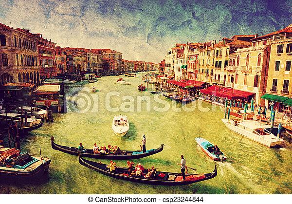 Venecia, Italia. Gondola en el gran canal. Arte antiguo - csp23244844