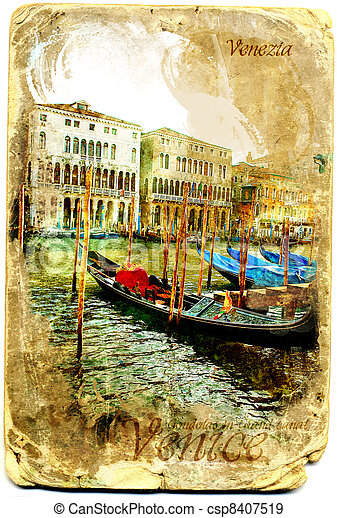 Gondolas postales en el gran canal, Venecia - csp8407519
