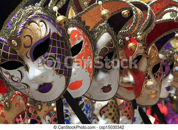 Grupo de máscaras de carnaval venecianas Vintage - csp15030342