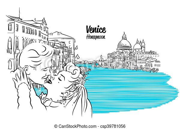 Venedig Weinlese Paar Skizze Skyline Kussende Venedig