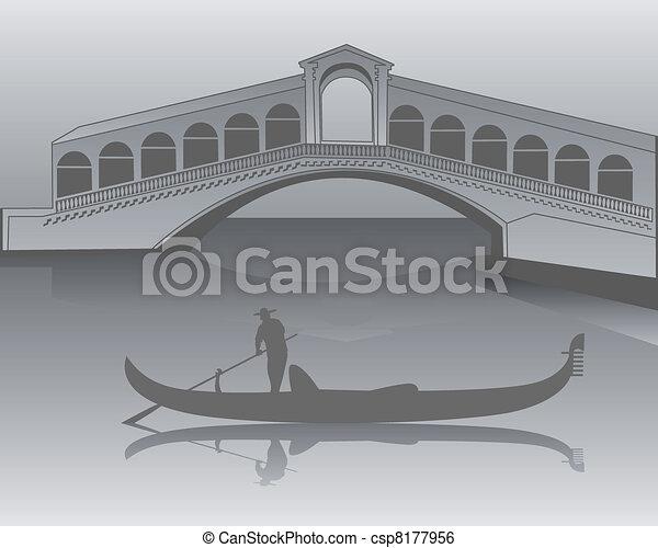 Venetian gondola from the Rialto Bridge in shades of gray - csp8177956