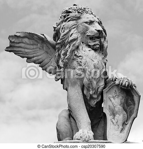 venetian lion sculpture isolated on sky, Asolo, Veneto, Italy - csp20307590