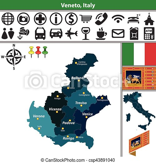 Veneto With Regions Italy Vector Map Of Veneto With Regions And