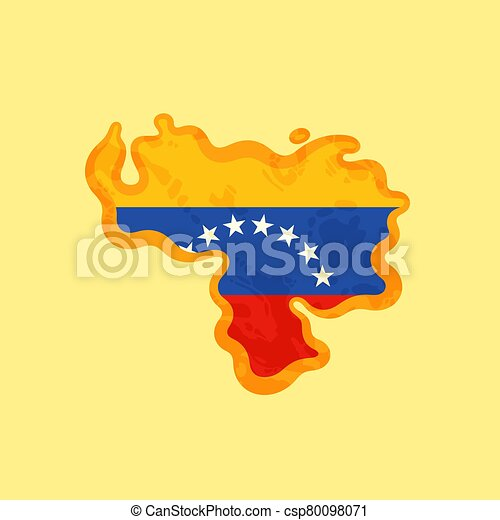 Venezuela - Map colored with Venezuelan flag - csp80098071