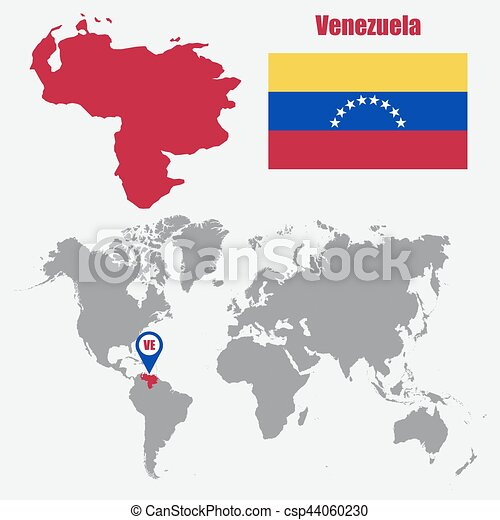 Venezuela map on a world map with flag and map pointer. vector ...