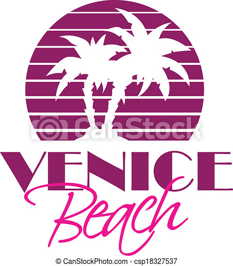 Vector Illustration Of Venise Beach Vintage Style Logo