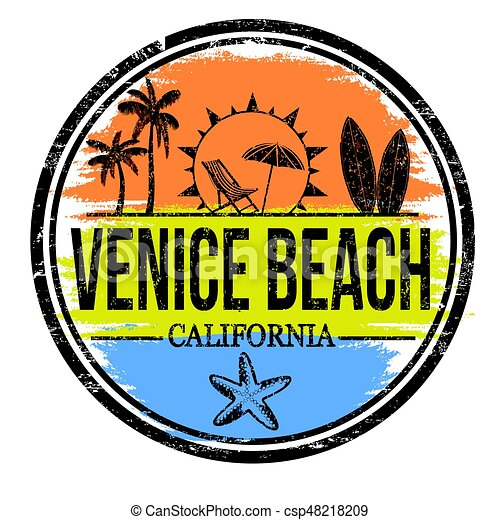 Venice Beach Sign Or Stamp On White Background Vector Illustration