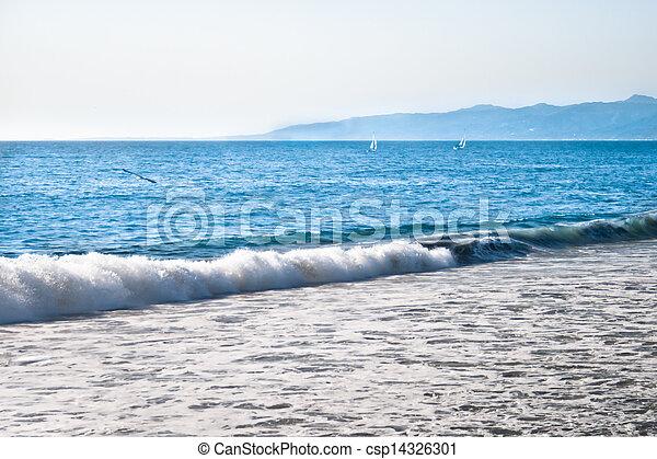 Venice Beach Surf and Sailboats - csp14326301