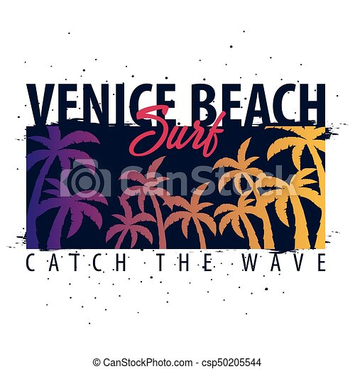 662c0143 Venice Beach Surfing graphic with palms. T-shirt design and print. -  csp50205544
