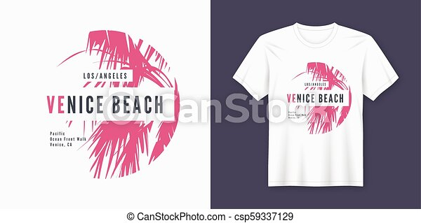 3ddffe90 Venice beach t-shirt and apparel trendy design with palm tree silhouette,  typography, poster, print, vector illustration. global swatches.
