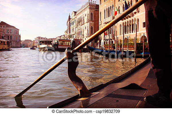Venice, Grand Canal view from a gondola - csp19832709