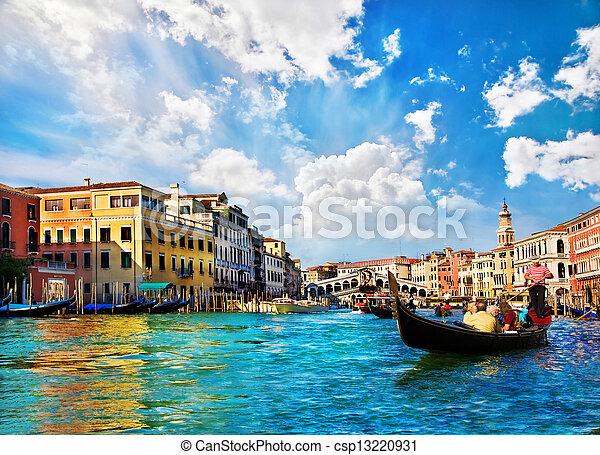 Venice Grand canal with gondolas and Rialto Bridge, Italy - csp13220931