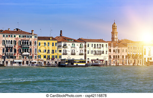 Venice. Italy. Bright ancient houses lengthways Canal Grande - csp42116878