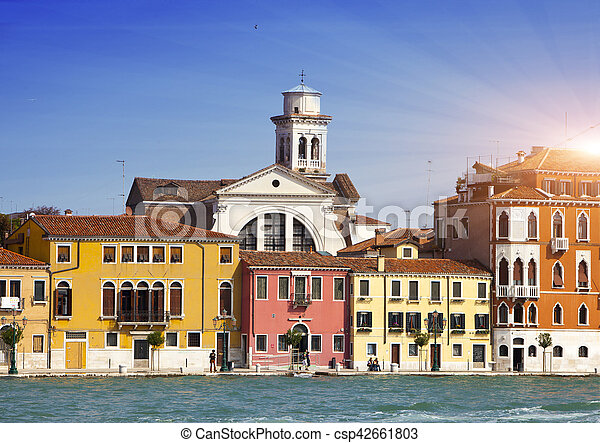 Venice. Italy. Bright ancient houses. Canal Grande - csp42661803